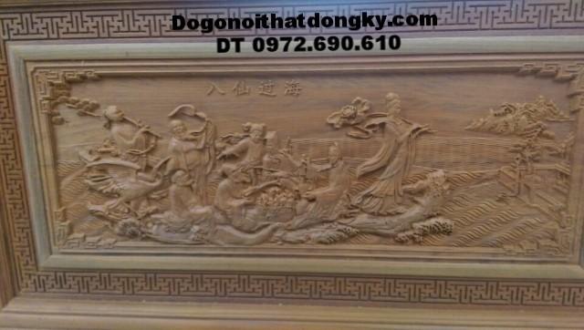 Tranh khắc gỗ mỹ nghệ Bát tiên quá hải T21