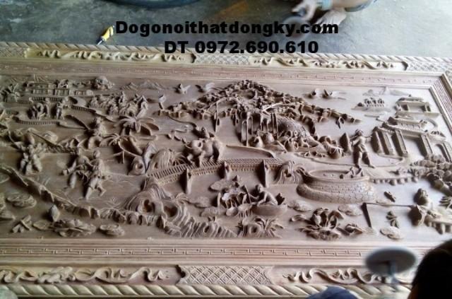 Bức tranh quê hương thanh bình bằng gỗ mỹ nghệ T23