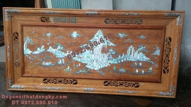 Tranh gỗ khảm trai Quê hương yên bình T37