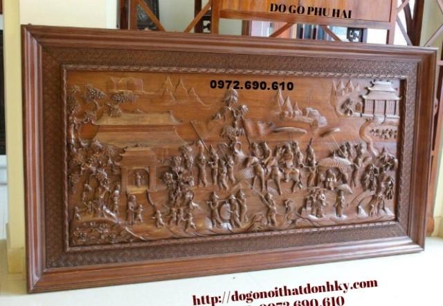 Bộ Tranh chạm khắc gỗ vinh qui bái tổ T05
