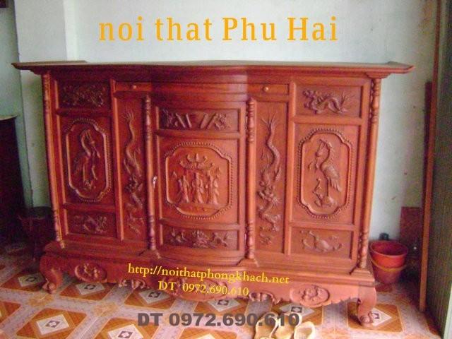 Tủ thờ gỗ hương Đục Tứ linh TT08