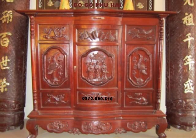 Tủ thờ gỗ gụ chạm tứ linh tam đa TT11