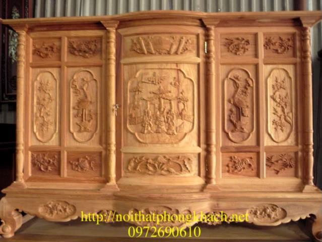 Tủ thờ gỗ hương triên Hạc + tam đa TT11
