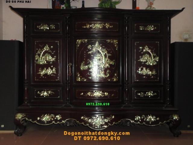 Tủ thờ gỗ gụ Khảm ốc , Kích thước Lỗ ban TT16