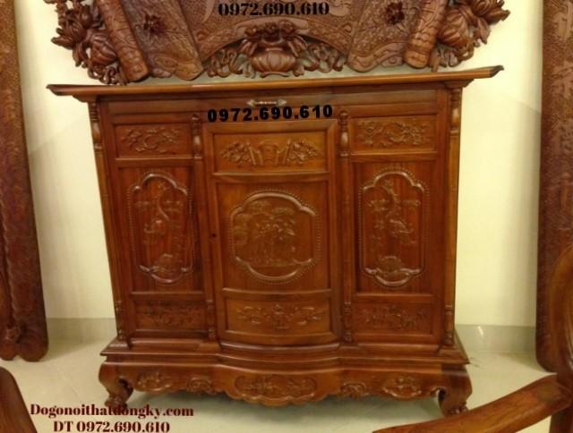Tủ thờ cham tam đa , Chạm hạc gỗ hương TT37