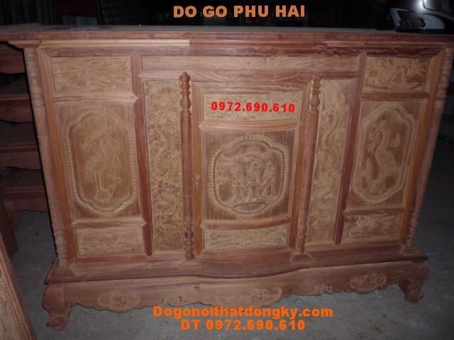 Tủ thờ gỗ hương chạm ông thọ, Tứ linh TT14