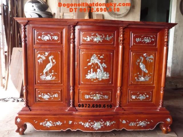 Tủ thờ khảm ốc gỗ hương Đồ gỗ Phu hải TT12