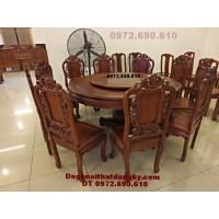 Bộ bàn ghế phòng ăn đẹp kiểu bàn tròn xoay BA<>42