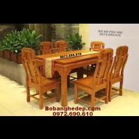 BỘ BÀN ĂN ĐEP phong cách gỗ hương bàn chữ nhật BA.93