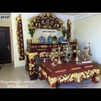 Bàn Thờ Gia Tiên Dát Vàng, Bộ Bàn Thờ Mẫu Đẹp ST.137