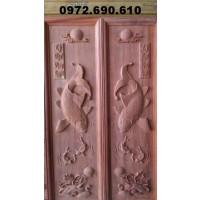 Tranh điêu khắc gỗ Lý ngư vọng nguyệt T14