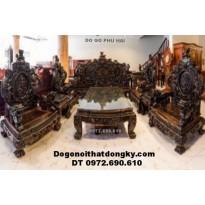 Bộ bàn ghế gỗ mun hàng đồng kỵ kiểu rồng đỉnh B.176