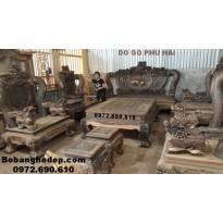 Bộ bàn ghế đồng kỵ gỗ mun hoa Cột.20cm hàng hiếm B182