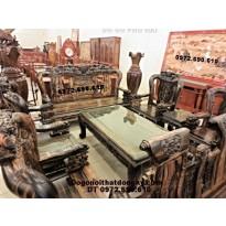 Bàn ghế gỗ mun Mẫu phượng công Vai 12 PC47