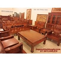 Bộ bàn ghế gỗ hương đẹp kiểu như ý NY50