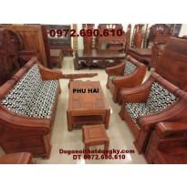 Bộ bàn ghế gỗ hương kiểu hôp trống HT52