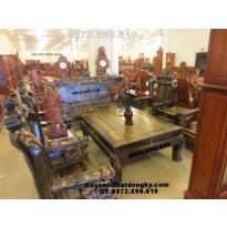 Bộ bàn ghế phòng khách mẫu đỉnh rồng gỗ mun DR61