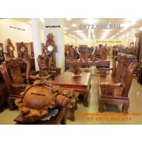Bộ bàn ghế đồng kỵ gỗ hương mẫu quốc voi QV62