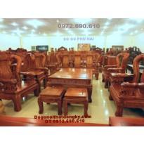 Bộ bàn ghế đẹp quốc voi gỗ hương vai 12 QV67