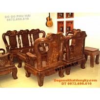 Bộ bàn ghế gỗ nu nghiến Mẫu quốc hồng C12 QH73
