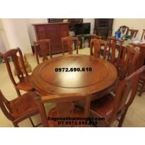 Bộ bàn ghế phòng ăn bàn tròn đồ gỗ đồng kỵ BA40