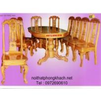 Bàn ghế phòng ăn Bầu dục 10 món BA 6-10