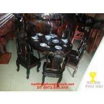 Bộ bàn ăn gỗ mun kiểu Bàn Tròn Xoay BT31