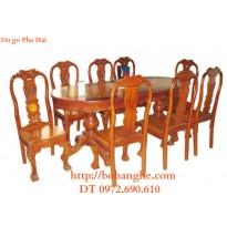 Bộ bàn ăn gỗ gụ tám ghế bàn bầu dục BA13