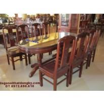 Bộ bàn ăn gỗ gụ, Bàn Bầu dục 9 món BA38