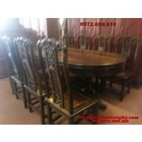 Bộ bàn ăn gỗ mun Bàn bầu dục BA36