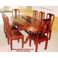Bộ bàn ăn đẹp giá rẻ Gỗ hương 8 ghế BA56