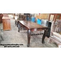 Bộ bàn ghế ăn gỗ mun bàn chữ nhật BA57