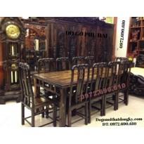 Bộ bàn ghế ( phòng ăn ) gỗ mun kiểu bàn chữ nhật BA67