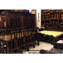 Bộ bàn ghế ăn đồ gỗ đồng kỵ ( bàn chữ nhật) BA69