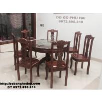 Bộ bàn ăn gỗ gụ 7 ghế bàn tròn hàng Đồng kỵ BA70