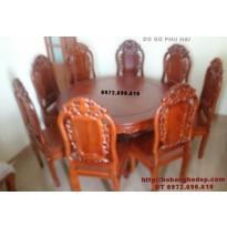 Bộ bàn ghế ăn bàn tròn giá rẻ gỗ gụ BA73