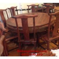 Mẫu Bộ bàn ghế ăn đẹp Kiểu bàn tròn gỗ hương BA81