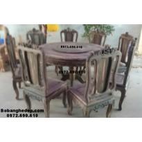 Bộ bàn ăn gỗ mun đẹp và sang trọng bàn tròn xoay BA82