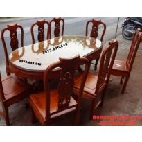 Mẫu Bàn ghế ăn đẹp bàn bầu dục giá rẻ BA83