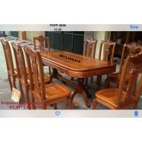 Bộ bàn ghế phòng ăn đẹp tám ghế bàn chữ nhật giá tốt BA.84