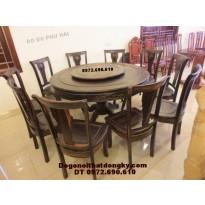 Bộ bàn ăn gỗ mun đẹp kiểu bàn tròn xoay BA47