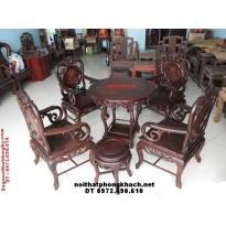Bộ bàn ghế Gỗ gụ Guột cổ ,bàn tròn BT03