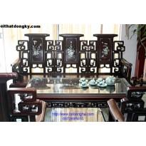 Bộ bàn ghế triện hạc khảm gỗ gụ TH03