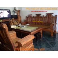 Bộ bàn ghế phòng khách gỗ hương Âu Á tay hộp AU-3A