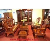 Bộ bàn ghế gỗ hương Minh quốc đào cột 9 MHC01