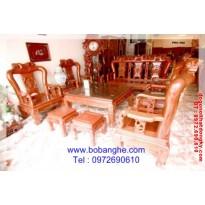 Bộ bàn ghế đồng kỵ Minh Quốc Hồng cột 12-QHH12