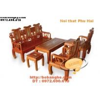 Bộ bàn ghế khảm ốc kiểu triện hạc gỗ Hương TH2