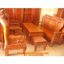 Bộ bàn ghế đẹp kiểu đỉnh rồng gỗ hương BDR1