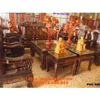 Bộ bàn ghế gỗ mun Sang trọng Kiểu Quốc voi V12 QV12