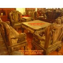 Bàn ghế Đồng Kỵ gỗ mun Kiểu Công Phượng cột 12 PC17